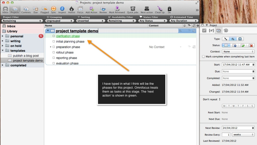 set up a project template in omnifocus (2/4)