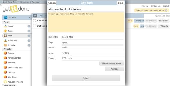 GID task entry screen