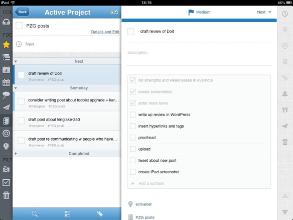 Doit iPad screenshot showing subtasks