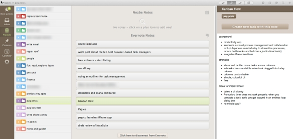 Nozbe version 1.8 lets you create a task from a note displayed in the 'attachments' view.