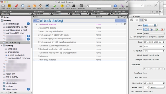 The project view in Omnifocus 1.10.4. Create simple lists or use the inspector to use the app's full power.