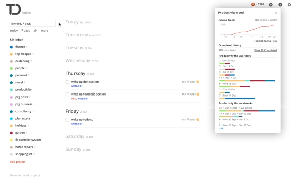 Todoist's seven-day view, with the project list on the left and the 'karma' productivity tracker on the right.