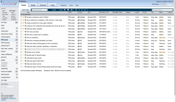 ToodleDo's folder (i.e. project) view. Don't be put off by a UI only a developer could love - this is one powerful app.