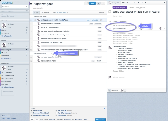 Asana's project view, with the navigation pane on the left and the task details pane on the right.