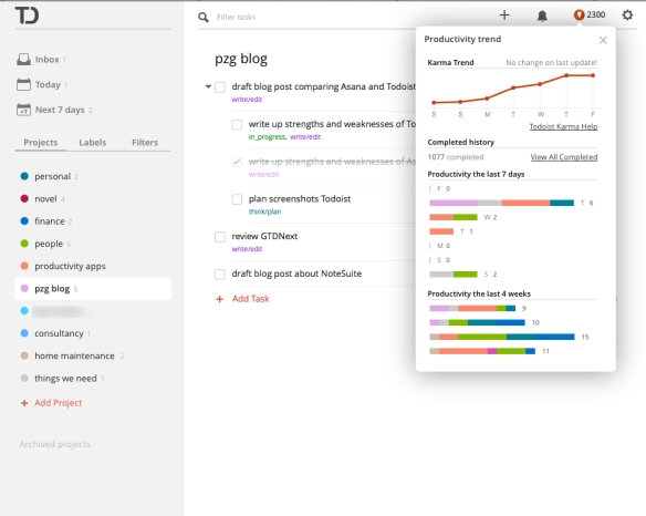 Todoist's project view, with the 'karma' productivity tracker tool.